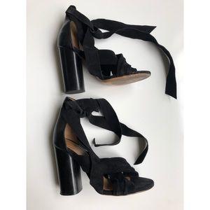 Isabel Marant Black Suede Lace up Sandals